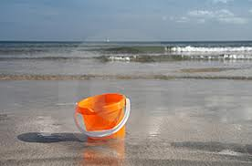 bucket on beach