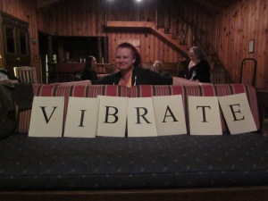 "Anna ""AJ"" Stewart showing us her extensive vocabulary. Photo by P. Rickrode"