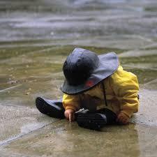 baby in rain