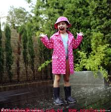 little girl in rain