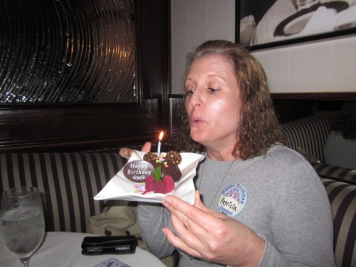 Happy birthday to me. Complimentary dessert for the birthday girl at Steakhouse 55. Photo by C. Rickrode