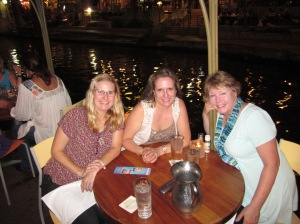 From left to right: Kristina Mathews, Patricia Rickrode (aka Jansen Schmidt) and Pat O'Dea Rosen. San Antonio Riverwalk.