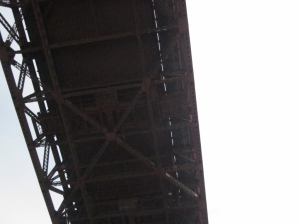 The under belly of the Goldene Gate Bridge. Photo by P. Rickrode 2014.