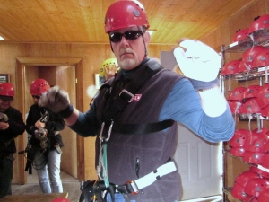 C. Rickrode ready to zipline. Photo by P. Rickrode 2014.