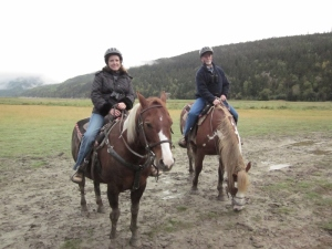 Me and my better half aboard our beasts of burden Sage and . . . I can't remember the other horse's name.  Dyea Valley, Alaska 2014.