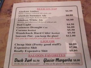 The menu at Juneau's Red Dog Saloon. Juneau, Alaska. Photo by P. Rickrode, September 2014.