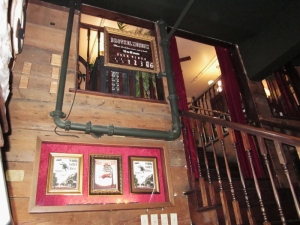 "The staircase and ""beckoning window"" leading to the ""rooms."" Red Onion Saloon, Skagway, Alaska. Photo by P. Rickrode, September 2014."