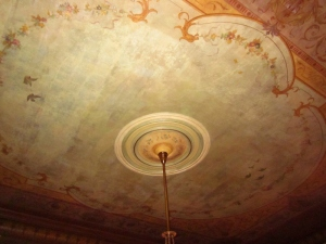 Lovely original painted ceiling in the first floor main hall. Craigdarroch Castle, Victoria BC. Photo by P. Rickrode September 2014.