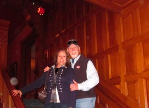Me and my sweetie on the staircase from first floor to the second. Yes, that is an orb floating just above my hand. Craigdarroch Castle, Victoria, BC. September 2014.