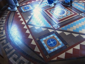 Amazing tile work floor. Craigdarroch Castle, Victoria BC. Photo by P. Rickrode September 2014.