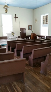 Inside the church @ Rocky Springs. Photo by P. Rickrode, August 2015.