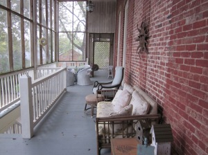 Upstairs porch and walkway to privy. Photo by P. Rickrode. November 2015.