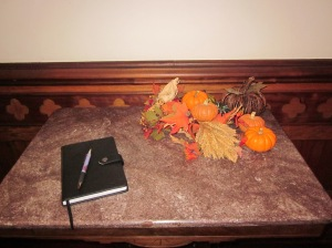 Baer House guest book in entryway. Photo by P. Rickrode, November 2015