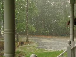 raining on porch