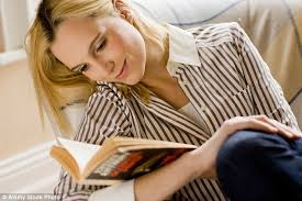 woman reading book