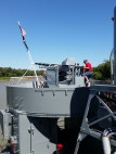 Gun mount, LST 325 (during firing demonstration). (Original photo by P. Rickrode.)