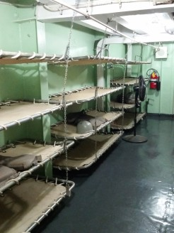 Original troop berthing racks, LST 325. (Original photo by P. Rickrode.)