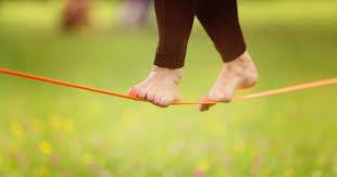 walking tightrope