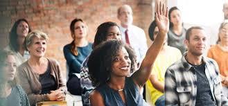 woman raising hand 2