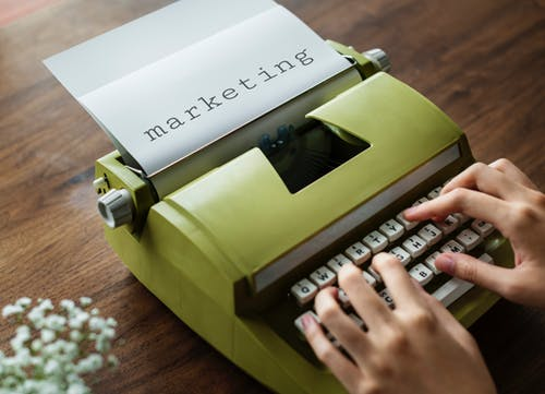 marketing on typewriter
