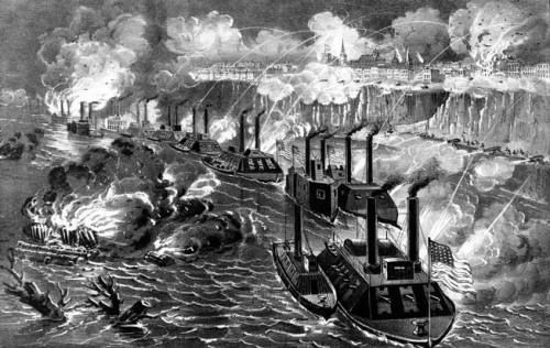 gunboats at riverfront