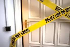 police tape on door